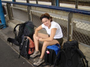 Olga Garcia, the guest author, on a backpacking trip