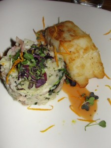 Sea bass and risotto at VOX populi in Boston