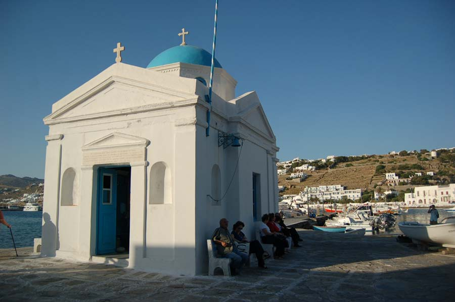 Yes, it's really like the movies; the island of Mykonos is full of picturesque white-washed churches with blue domes.