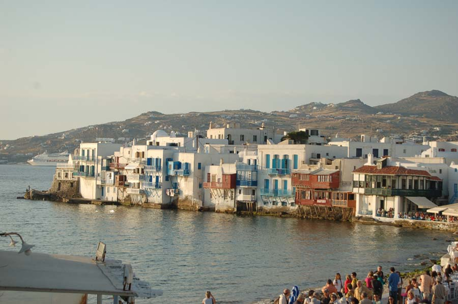 This beautiful section of Mykonos is called Little Venice because its narrow buildings sit directly on the Aegean Sea.