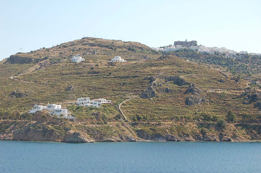The island of Patmos is home to the Monastery of St. John (the brown structure pictured in the top right corner). It is also home to the Cave of the Apocalypse, where it's said that St. John the Divine wrote the Book of Revelations.