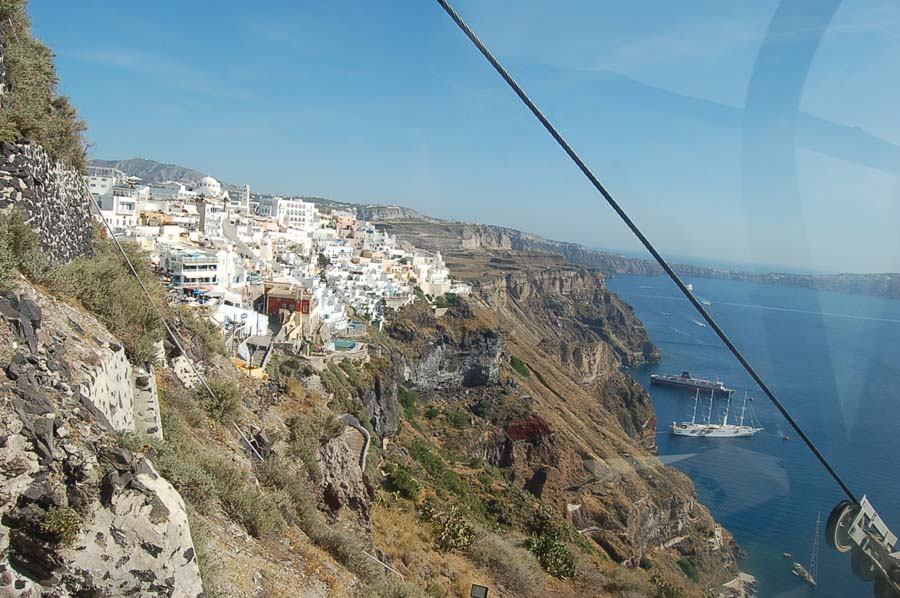 To visit Santorini's capital, Fira, you have to ride up in a cable car or take a donkey ride. I took this image of us ascending in the funicular.