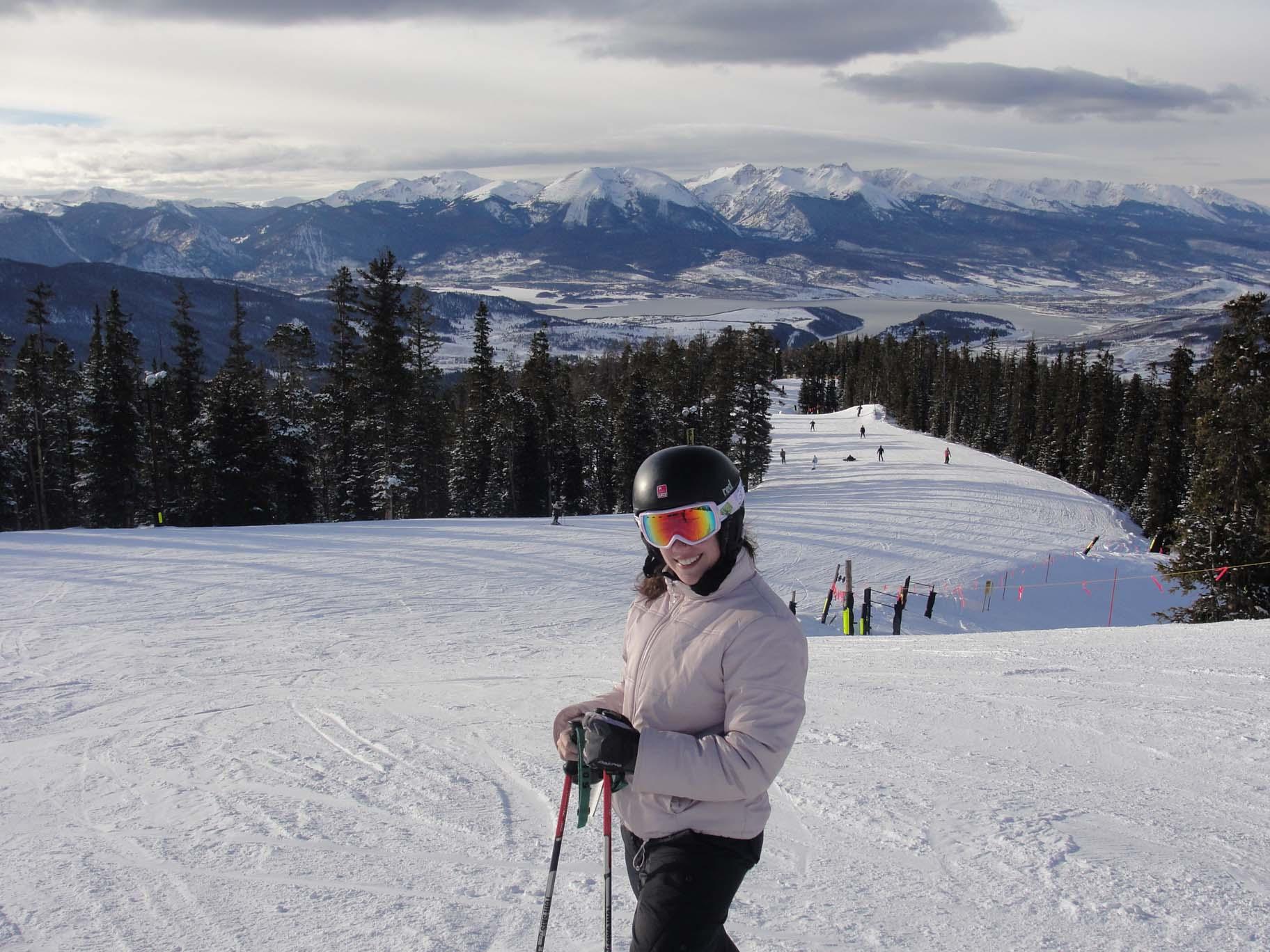 Emily skiing Schoolmarm in Keystone