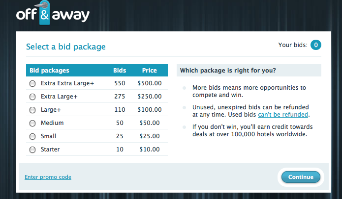 Off & Away bid packages