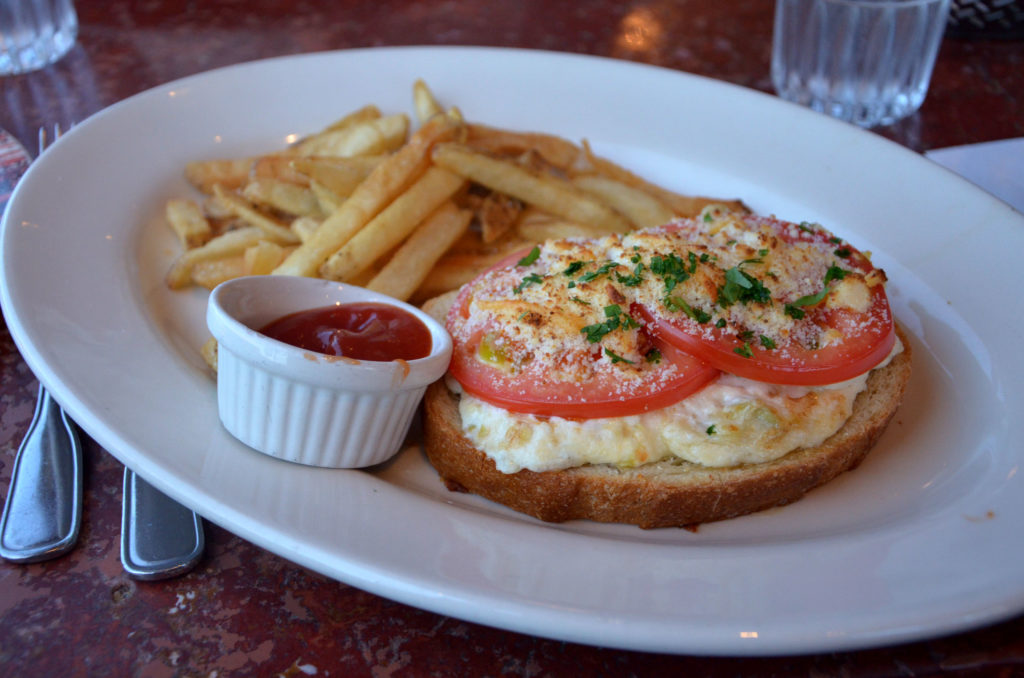Open-faced crab sandiwich at Cutter's Bayhouse in Seattle