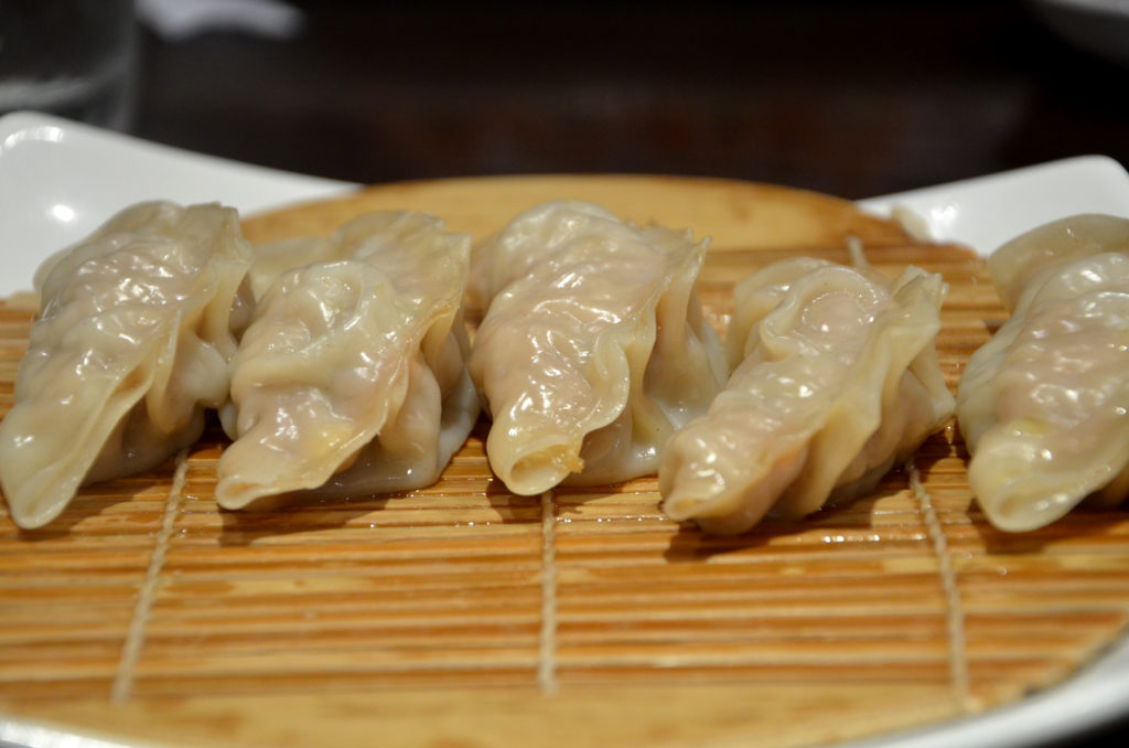 Steamed pork gyoza at Kamei Royale