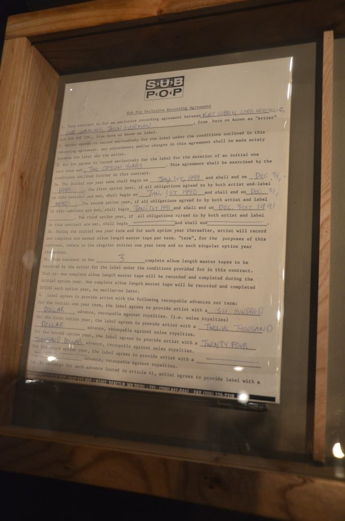 Nirvana's original record deal with Sub-Pop at Experience Music Project