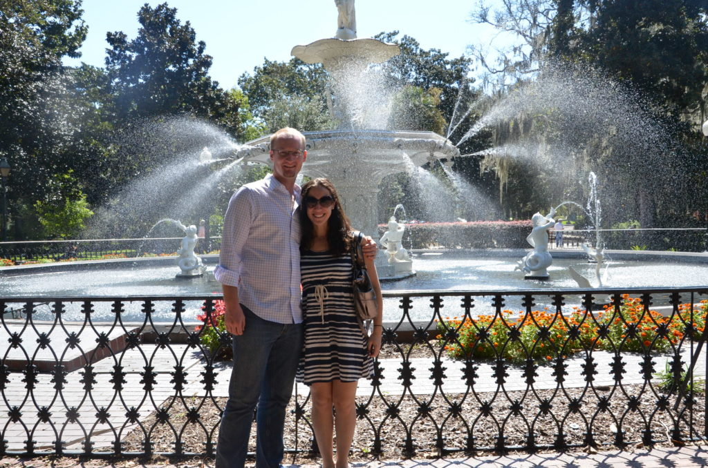 My husband and I in Forsyth Park in Savannah, Georgia