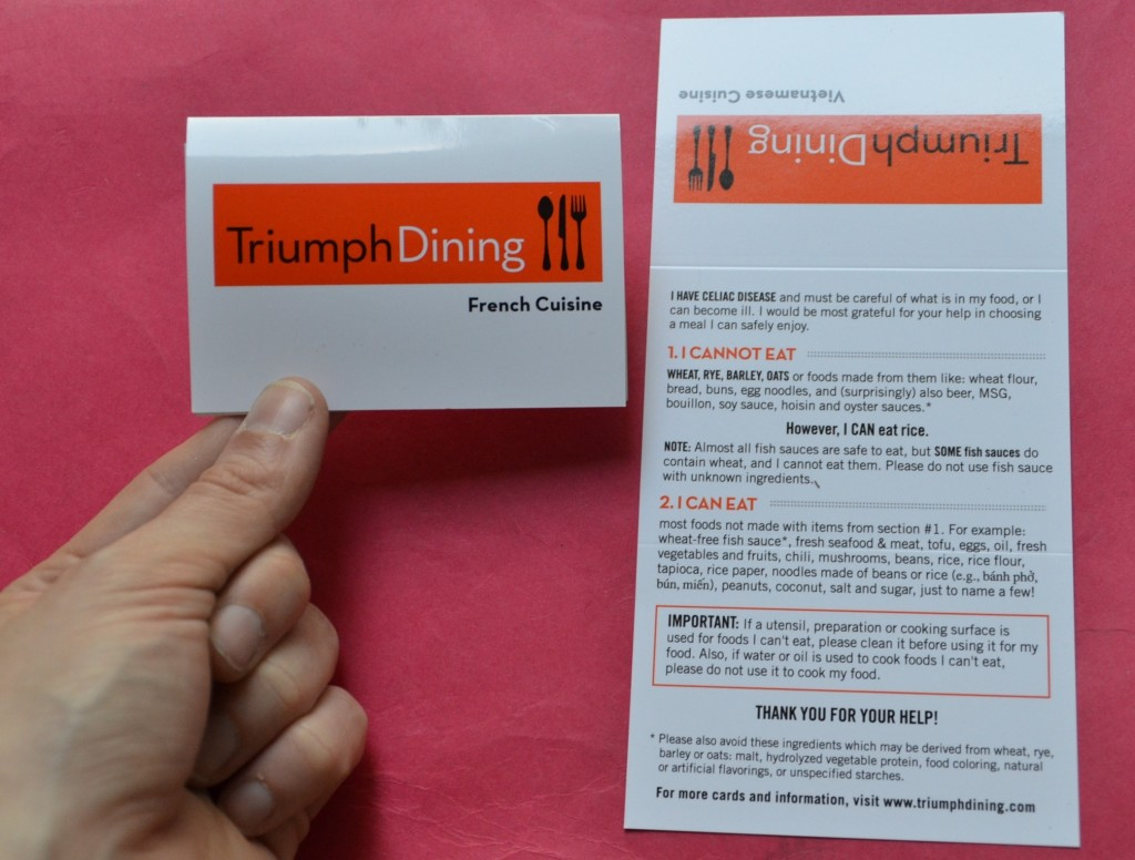 gluten-free dining cards