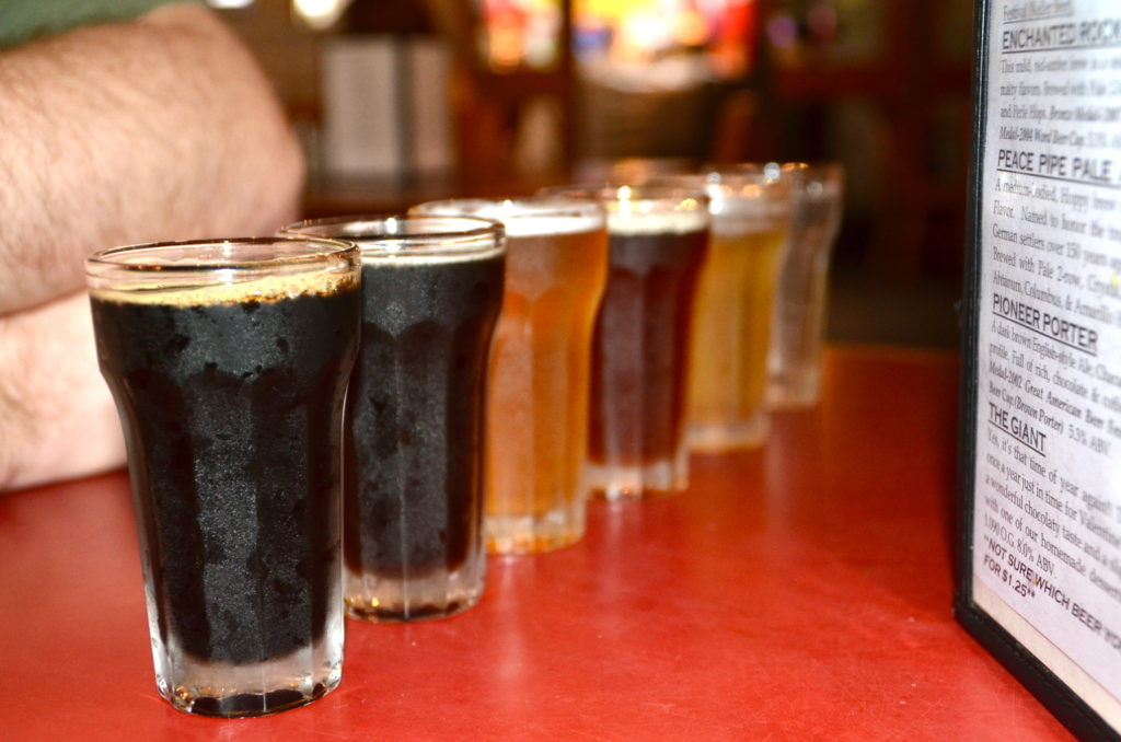 Beer flight at Fredericksberg Brewery