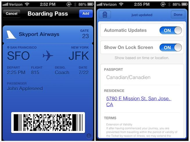 Apple's Passbook interface