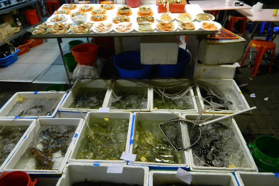 live sea foods up for grabs at Kowloon's night market