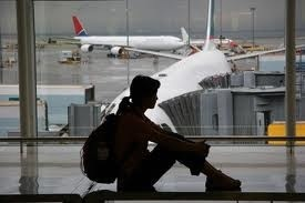 waiting at the airport alone?
