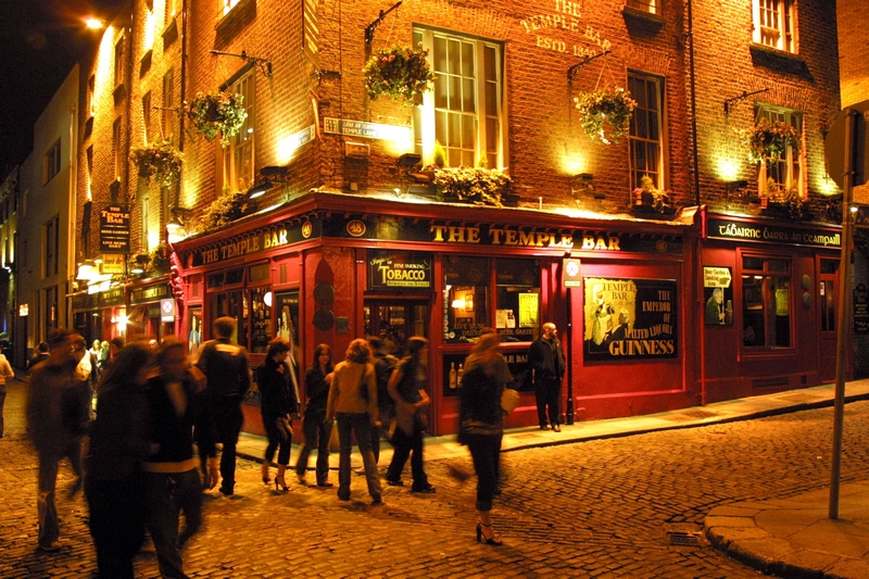 The Temple Bar Pub, Temple Bar, landscape with lots of people outside